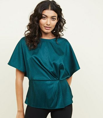 Dark Green Satin Feather Texture Twist Front Top