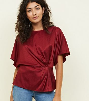 Burgundy Satin Feather Texture Twist Front Top