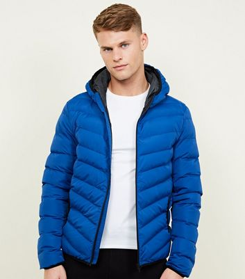 Blue Lightweight Hooded Puffer Jacket