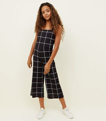 Girls Black Grid Check Culotte Jumpsuit