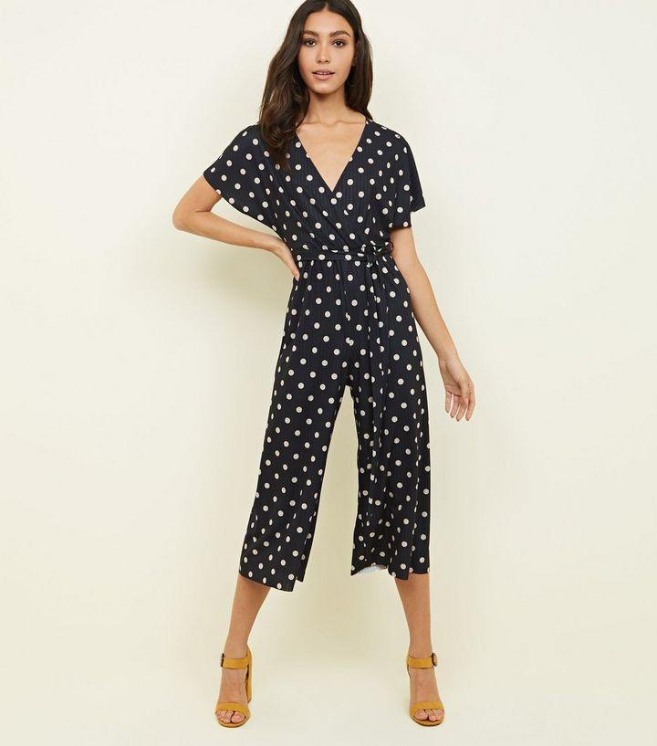 9f36676f1bb Black Spot Print Wrap Culotte Jumpsuit