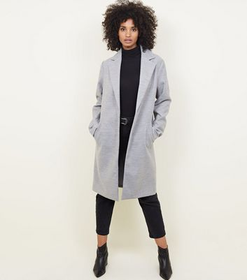 Tall Pale Grey Collared Longline Coat