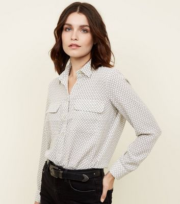 White Geometric Patch Pocket Front Shirt