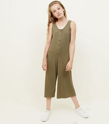 Girls Khaki Button Front Ribbed Jumpsuit