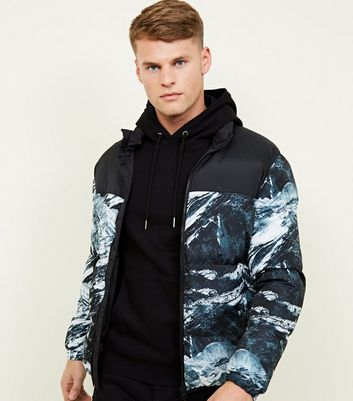 Black Colour Block Marble Print Puffer Jacket