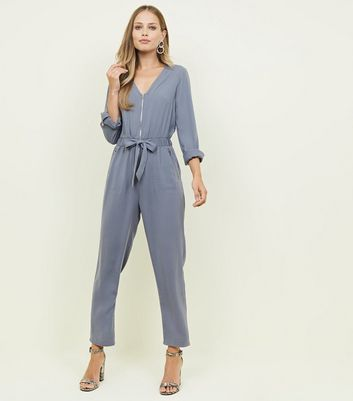 Grey Zip Front Tapered Leg Jumpsuit
