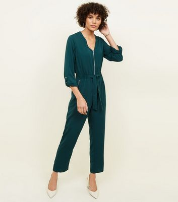 Dark Green Zip Front Tapered Leg Jumpsuit