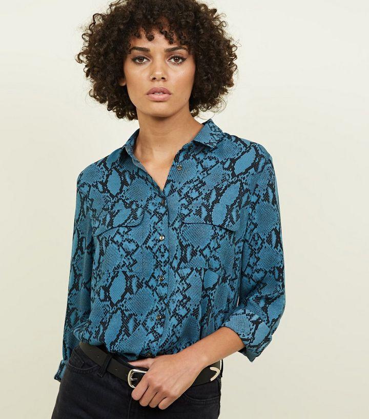 2fa1ac196fde Blue Snake Print Pocket Front Shirt | New Look