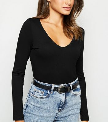 Black V Neck Long Sleeve Bodysuit