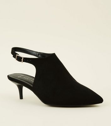 Wide Fit Black Suedette Pointed Kitten Heels