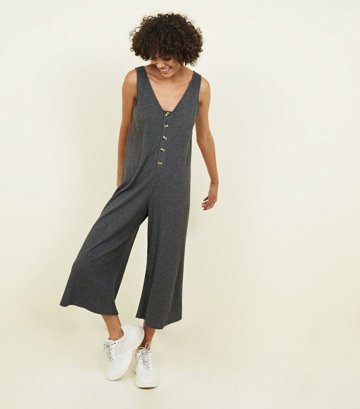 67326e2a34 Grey Brushed Rib Button Front Jumpsuit