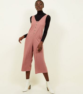 Pink Brushed Rib Button Front Jumpsuit