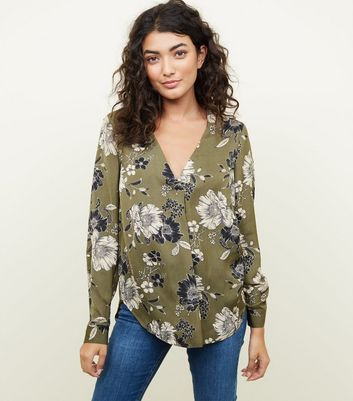 Green Floral Print Satin Long Sleeve Shirt