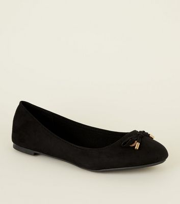 Wide Fit Black Metal Bow Front Ballet Pumps