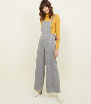 Grey Check Wide Leg Pinafore Jumpsuit