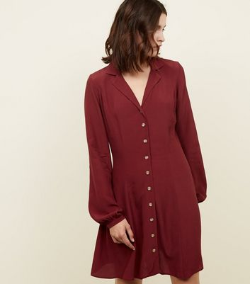 Plum Revere Collar Button Front Tea Dress