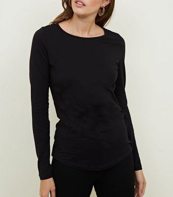 Tall Black Long Sleeve Crew Neck Top
