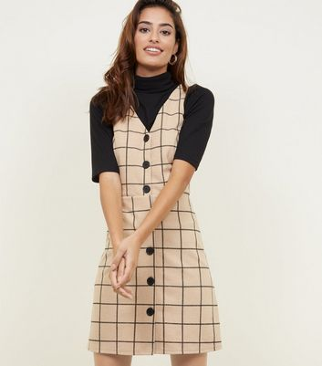Camel Grid Print Button Through Pinafore