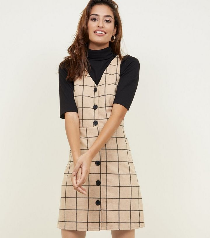 5df17517a7 Camel Grid Check Button Through Pinafore Dress