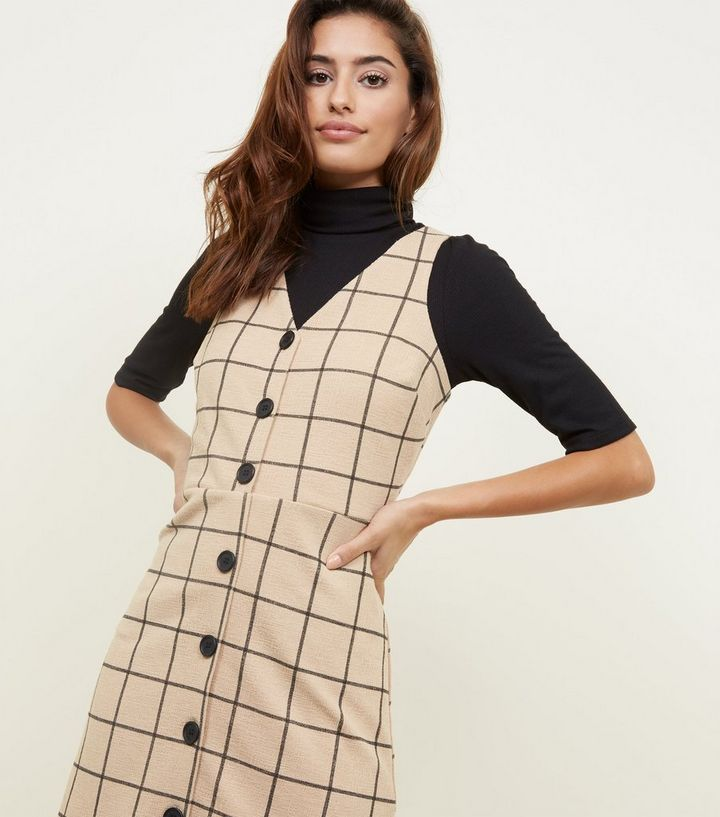 good selling discount sale latest selection Camel Grid Check Button Through Pinafore Dress Add to Saved Items Remove  from Saved Items