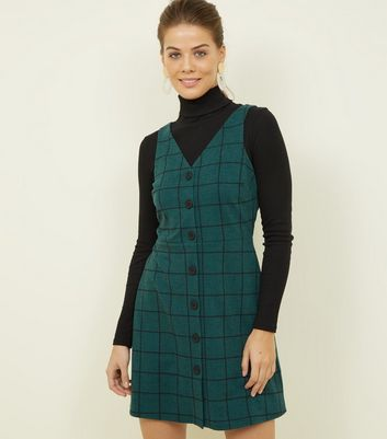 Dark Green Grid Check Button Through Pinafore Dress