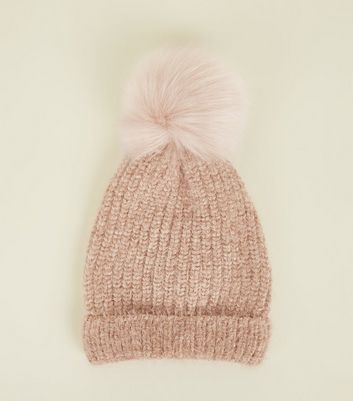 Mink Ribbed Faux Fur Bobble Hat