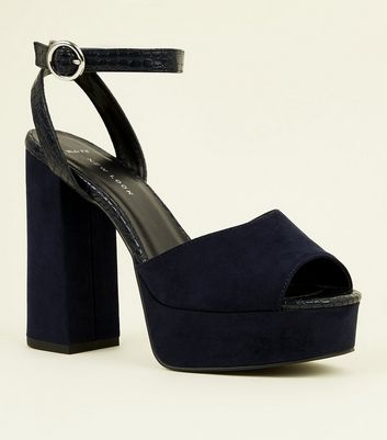 Wide Fit Navy Faux Crocodile Suedette Heels