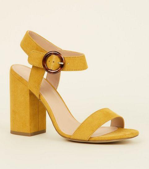 ... Mustard Faux Tortoiseshell Ring Buckle Heels ...