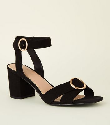 Wide Fit Black Suedette Ring Cross Strap Sandals