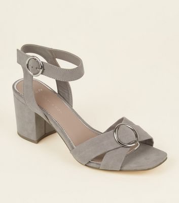 Wide Fit Grey Suedette Ring Cross Strap Sandals