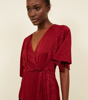 Red Leopard Jacquard Wrap Front Top
