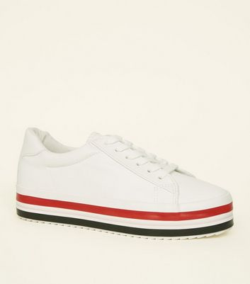 White Leather-Look Stripe Sole Flatform Trainers