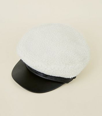 Cream Borg Baker Boy Hat