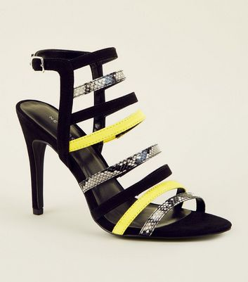 Yellow Faux Snake Colour Block Strappy Stilettos