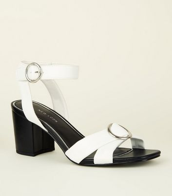 Wide Fit Monochrome Strappy Buckle Sandals