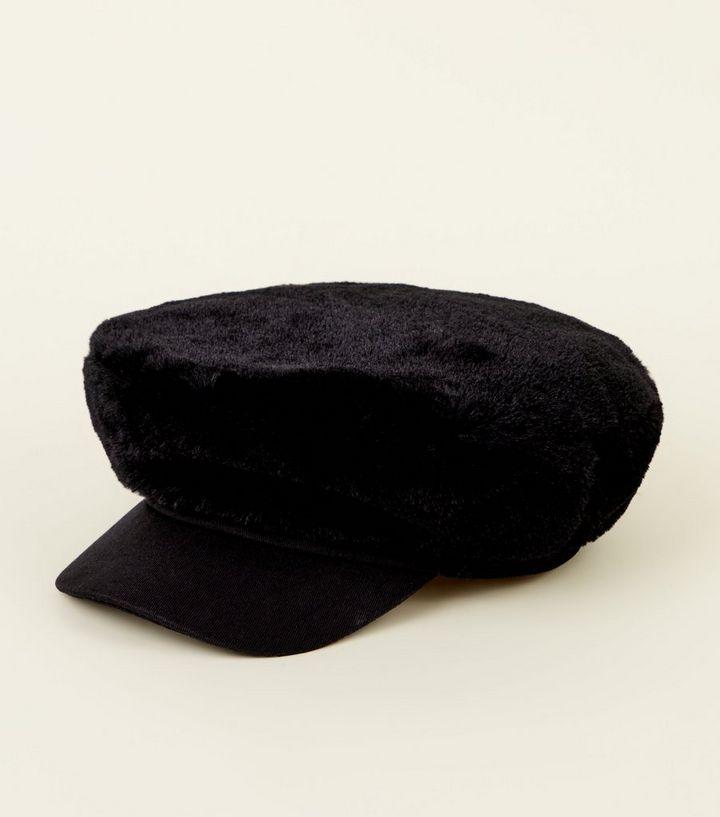 Black Faux Fur Baker Boy Hat  29c6030360