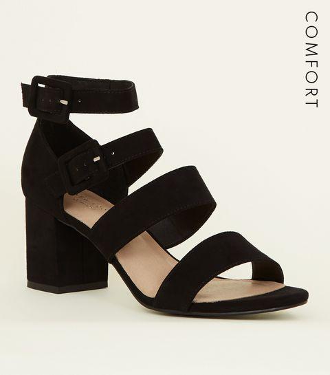 ... Black Comfort Flex Suedette Strap Block Heels ... c8c1f6c644
