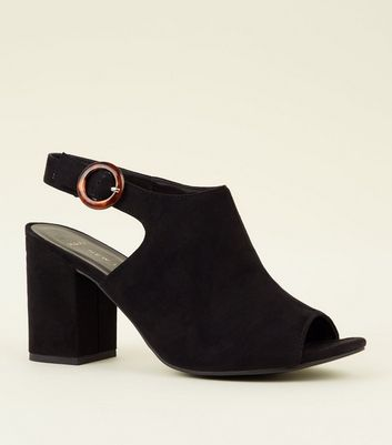 Wide Fit Suedette Peep Toe Block Heels