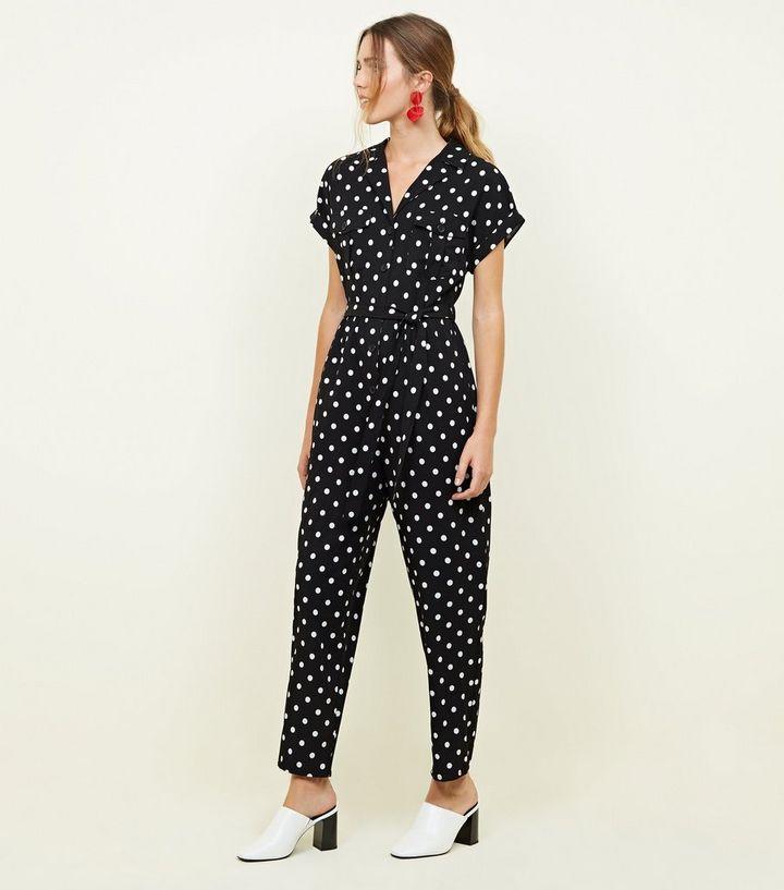 8cf0d62e8b2c Black Spot Print Twill Utility Jumpsuit