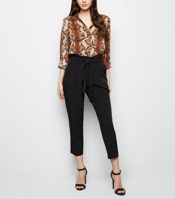 Black Paperbag Waist Trousers