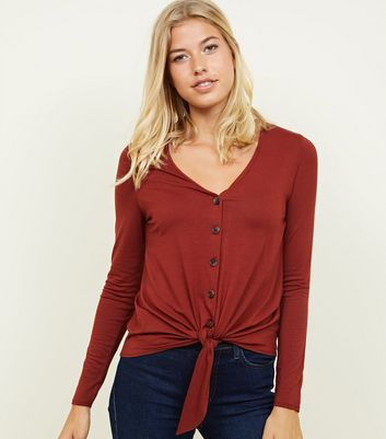 Rust V Neck Button Tie Front Top
