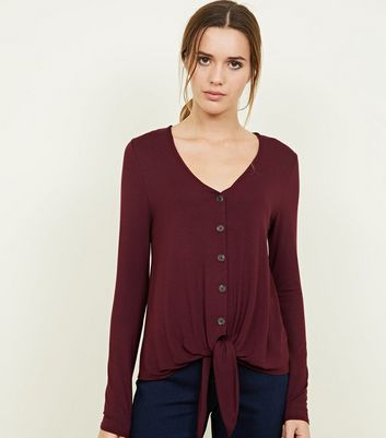 Burgundy V Neck Button Tie Front Top