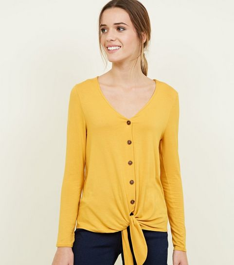 931a8f215d ... Mustard V Neck Button Tie Front Top ...