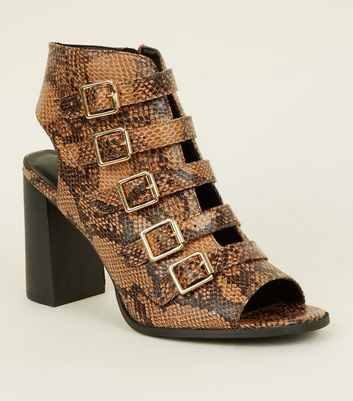 Brown Faux Snake Buckle Strap Block Heels
