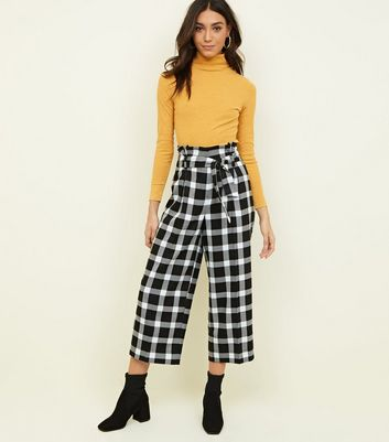 Black Check Paperbag Waist Cropped Trousers