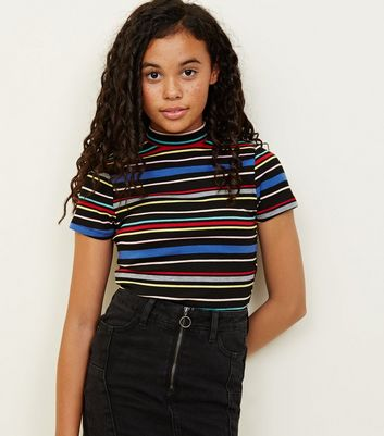Girls Black Rainbow Stripe High Neck T-Shirt