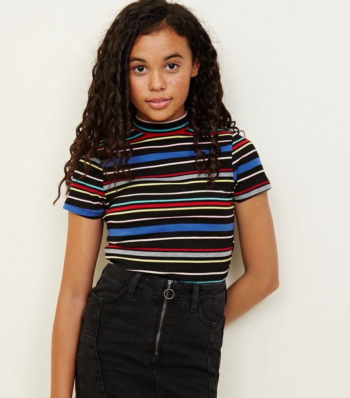 53419db51f Girls Black Rainbow Stripe High Neck T-Shirt | New Look
