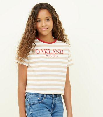 Girls Off White Stripe Oakland Print T-Shirt