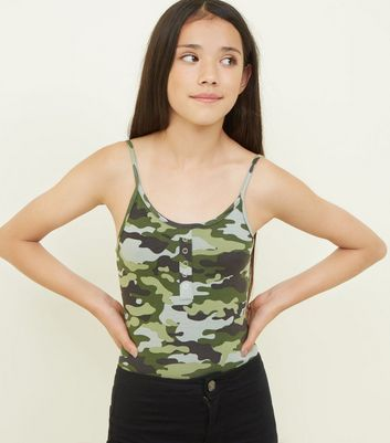 Girls Green Camo Popper Front Bodysuit