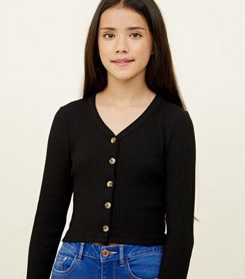 Girls Black Button Through Jersey Top